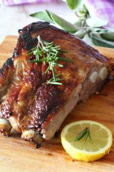 Baked pork ribs with lemon marinade-Costine di maiale al for. Baked pork ribs with lemon marinade-Costine di maiale al for.- Baked pork ribs with lemon marinade-Costine di maia