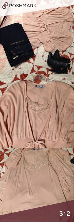 Beautiful pale pink sweater In very good condition. This is a sweater with a top tank included 97% cotton. Tag says size Small but fits Medium too Jennifer Lopez Sweaters Cardigans