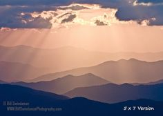Before the clouds filled in and completely obscured the setting sun, some nice color and wonderful sun rays appeared on this fall evening at Clingmans Dome in the Great Smoky Mountain National Park. Ill print this with high quality archival Epson Ultrachrome K3 inks on premium