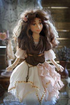 Купить Натали. Текстильная кукла. Авторская интерьерная кукла. Бохо - коричневый, бохо, авторская кукла