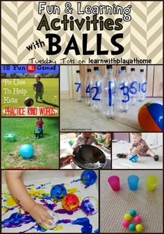 and Learning Activities with Balls Fun Learning Activities with Balls: lots of great ideas from math to gross motor.Fun Learning Activities with Balls: lots of great ideas from math to gross motor. Educational Activities, Learning Activities, Toddler Activities, Preschool Activities, Creative Curriculum Preschool, Kid Activites, Sports Activities, Teaching Strategies, Play Based Learning