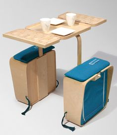 Relaxshacks.com: A foldable tiny house picnic table and chairs (you can carry on a bicycle?) Super cool!