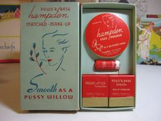 1930's unused set of Hampden face powder enameled lipstick rouge and powder base in original box red colors with deco lady's face