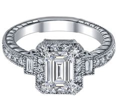 Three Stone Emerald Cut Diamond Engagement Ring  - ES895ECWG