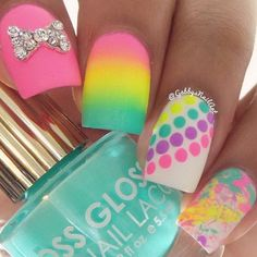 Patterned Neon Nails Accented with Rhinestone Nails.