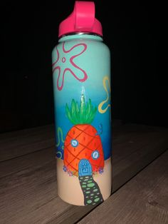 Hydro Painting, Bottle Painting, Cool Paintings, Spongebob, Flask, Things To Do, Water Bottles, Jewels, Art