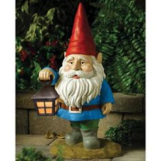 I have a gnome on my kitchen counter; he makes me smile. Having one outside with this cute lantern would likely have the same effect, no?