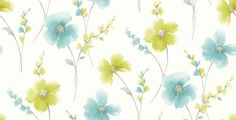 Riviera (413404) - Albany Wallpapers - Beautifully considered in design this exquisite watercolour floral brings an injection of colour into your home. Showing in green and teal on off white - more colours are available. Please request a sample for true colour match.