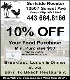 Welcome to the Surfside Rooster located at 12507 Sunset Ave in West Ocean City MD. A Barn to Beach Restaurant Establishment opened in May Ocean City Md, Rooster, Coupons, How To Get, Vacation, Cool Stuff, Beach, Vacations, The Beach