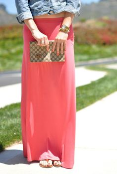 coral maxi skirt and jean jacket