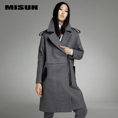 MISUN 2016 winter women's jacket European style asymmetrical turn-down collar woolen plush eqaulet wide-waisted long outerwears US $145.99 /piece To Buy Or See Another Product Click On This Link  http://goo.gl/IdJFhm