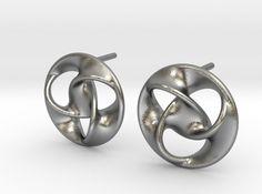 "Trefoil ""For Anita"" 3d printed Mathematical Art Earrings Raw Silver"
