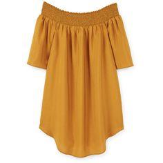 MANGO MANGO Flowy Dress ($70) ❤ liked on Polyvore featuring dresses, mango dresses, short sleeve dress and yellow dress