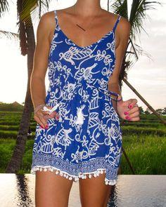 Pom Pom Jumpsuit / Playsuit, Short Beach Dress, Cobalt Blue Bird Print Skort Shorts from ljcdesigns. Saved to Clothes. Short Beach Dresses, Short Playsuit, Cobalt Blue Dress, Bird Prints, Leather Fabric, Skort, Blue Bird, Trendy Fashion, Nice Dresses