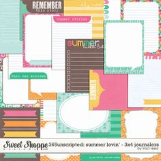 365Unscripted: Summer Lovin' 3x4 Journalers by Traci Reed at Sweet Shoppe Designs