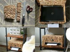 aménagement bureau maison, meuble de rangement artisanal en sisal et tapis graphique gris taupe