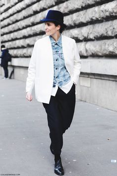 Neckless Blazer + Denim Jacket + Shirt + Cropped Formal Trousers + Lace Up Shoes