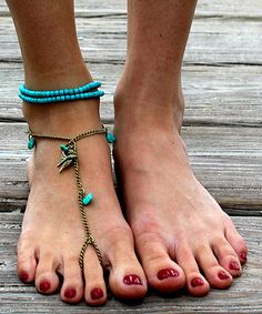 Another great find on #zulily! Gold & Turquoise Free Bird Barefoot Sandal #zulilyfinds
