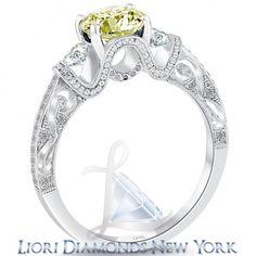 1.72 Carat Fancy Yellow Diamond Engagement Ring 18k White Gold Vintage Style - Rings - Lioridiamonds.com