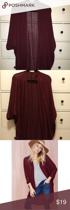 LUSH 3/4 sleeve cardigan Super comfy wine/burgundy long cardigan. Sweater was originally sold on Nasty Gal and Nordstrom. Great color for fall! Not itchy! Made of rayon, polyester, and spandex Lush Sweaters Cardigans