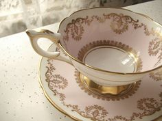 vintage pink and gold tea cup and saucer set by ShoponSherman, $139.00