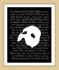 Phantom of the Opera Musical Quotes Print