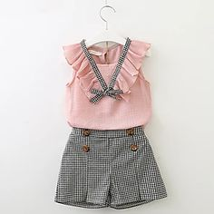 Girls Clothing Sets 2018 New Style Summer Children Clothes Cute Plaid Lace + White Bow Short Pants Kids Clothes Sets Toddler Girl Outfits, Baby Outfits, Little Girl Dresses, Kids Outfits, Toddler Girl Clothing, Kid Dresses, Winter Outfits, Newborn Clothing, Tween Clothing