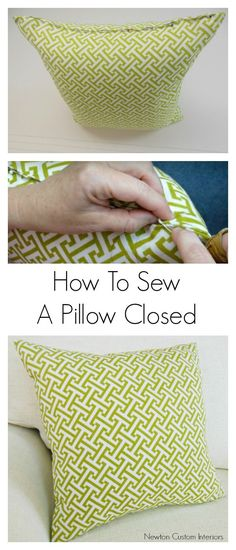 DIY pillows are a fun sewing project that can quickly update a room.  Learn how sew a pillow closed with this detailed sewing tutorial that includes video instructions.
