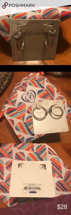 Authentic Brighton Shimmer Heart Earrings NWT This is a pair of new Authentic Brighton earrings. These hoop style earrings feature a shimmering heart .  These are brand new in the original packaging. Brighton Jewelry Earrings