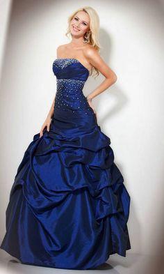 Sequin Blue Ball Gown Strapless Taffeta Quinceanera Dress