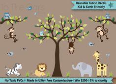 Jungle Animal Decal, Nursery Jungle Decal, Animal Wall Sticker, Safari Animal Decals, Reusable Decals, Lion Zebra Elephant Giraffe ZPN QEH
