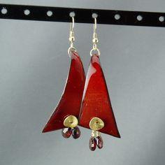 Enamel earrings, Red garnet and gold vermeil dangle earrings by Linda Kane.