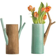 Arteriors Mandara Stylized Branch Vases - Set of 2 ($168) ❤ liked on Polyvore featuring home, home decor, vases, decor, vase, colored vases, cylinder vase set, arteriors, cylinder vases and branches home decor