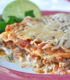 Favorite easy, scrumptous Mexican Lasagna -Perfect when you're counting Weight Watchers points - even diabetic friendly and you will never know!!! hollyclegg.com thehealthycookingblog.com  #lasagna #weightwatchers www.hollyclegg.com #recipe