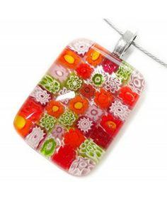 Handgemaakte glas hanger met oranje, rode, groen en roze millefiori bloemen