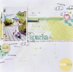 #papercrafting #scrapbook #layout - Scooter, by Anna Bjorklun sing the Daydream Collection from www.cocoadaisy.com #cocoadaisy #scrapbooking #kitclub #layout #DITL #stamping #gesso
