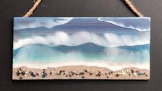 """Introductory Price!! Low price for the introduction of this new product! Limited number available at this price!!  12x5.5"""" Ocean Wave Wooden Plaque in the Colors of the Sea for Beach-Nautical Decor/Beach Cottage Treasure/Beach Gifts  Handmade and Unique! Our wooden ocean wave plaques are made one at"""