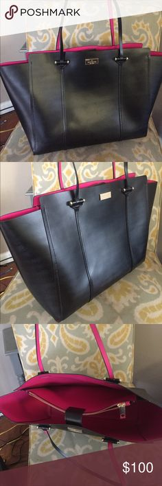 Kate Spade Black cow leather tote purse pink new Beautiful Kate Spade purse tote bag. Black & pink cow leather. kate spade Bags Totes