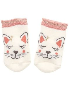 Calcetines de punto de rizo gato Bebé niña