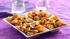 Da Chex Mix® (use gluten free chex, caramel corn and crackers; verify or sub for the Rolo's/chocolate caramel chews)