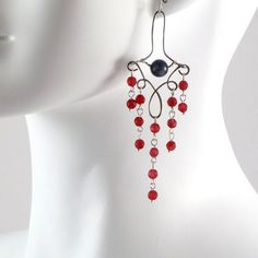 Red and Grey Victorian Chandelier Earrings in by Arthlin on Etsy, $35.00