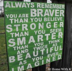 Always remember you are braver than you believe, stronger than you seem smarter than you think and twice as beautiful as you ever imagined.