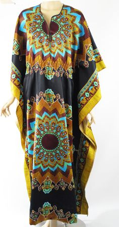 1970s Gold and Black Paisley Indian Patterned Caftan - offered by Alley Cats Vintage on Ruby Lane.