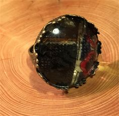 Kimberly- Tie Style Glass Bead Round Ring