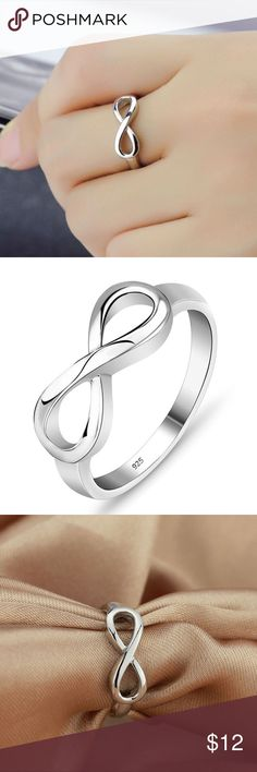 Silver Infinity Ring Size 6 NEW Sleek & Refined. 925 Sterling Silver Plated Infinity Ring in Size 6. NEW. Bundle & Save On Shipping. Silver Luxe Jewelry Rings
