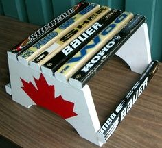 hockey stick step stool for when your little buddy needs to reach that sink:) Hockey Nursery, Hockey Bedroom, Hockey Baby, Hockey Girls, Nursery Room, Boy Room, Hockey Stick Crafts, Hockey Sticks, Hockey Decor