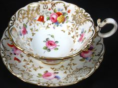 1830 COALPORT ORNATE HP FLORAL GOLD ANTIQUE TEA CUP AND SAUCER  ❤❤❤