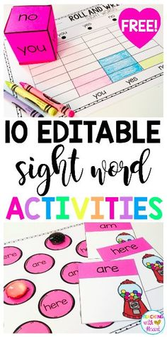 34 Trendy Sight Word Games For First Grade Teacher Pay Teachers Teaching Sight Words, Sight Word Practice, Sight Word Games, Sight Word Activities, Hands On Activities, Fry Sight Words, Literacy Activities, Sight Word Centers, Kindergarten Freebies