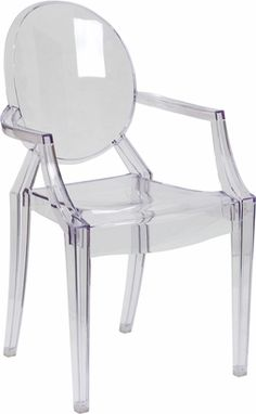 Ghost Chair with Arms in Transparent Crystal: a source for a more affordable version... a knockoff. I am pleased to report that these are in fact full size, not collapsing underneath you well built beautiful chairs! Child friendly too. ($64.99)