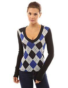PattyBoutik Women's Smart V Neck Checkers Long Sleeve Knit Top (Blue M)